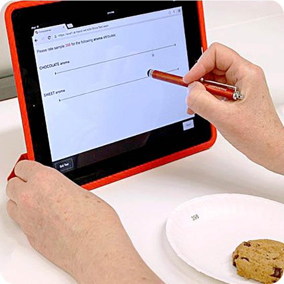 Tester uses online Compusense platform