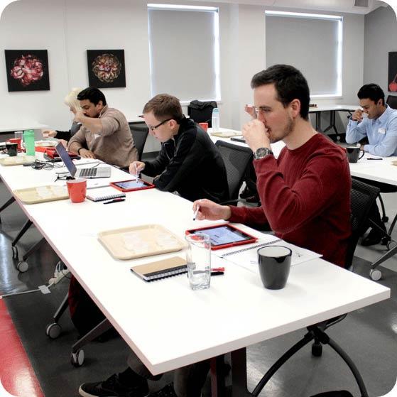 Panelists undergoing sensory training